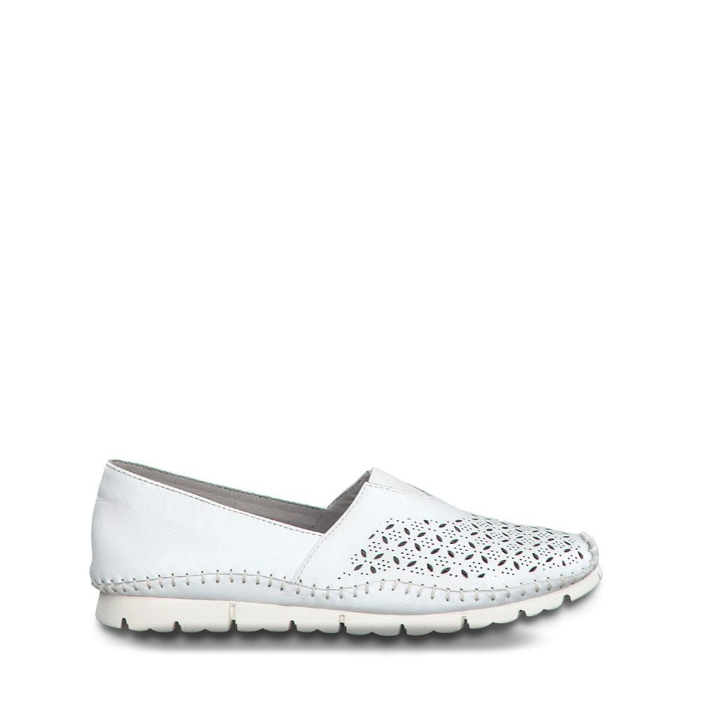 Γυναικεία Loafer Jana 100% Comfort 24619 White Δέρμα