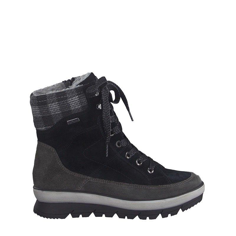 Γυναικείο Μποτάκι Jana 100% Comfort  Leather 26230 Grey Black