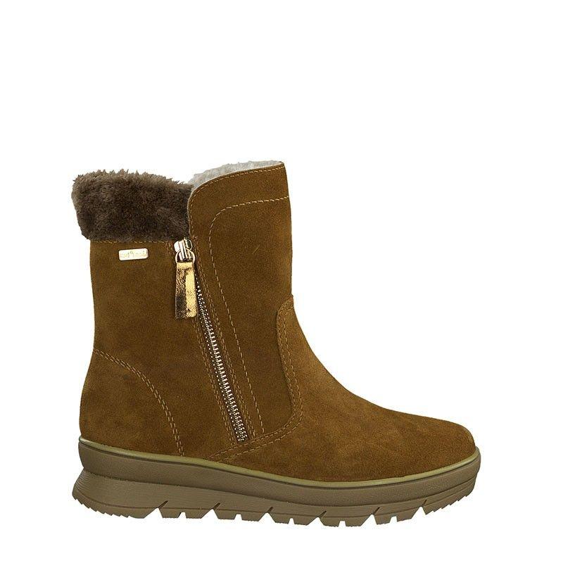 Γυναικείο Μποτάκι Jana 100% Comfort  Leather 26440 Cognac Suede