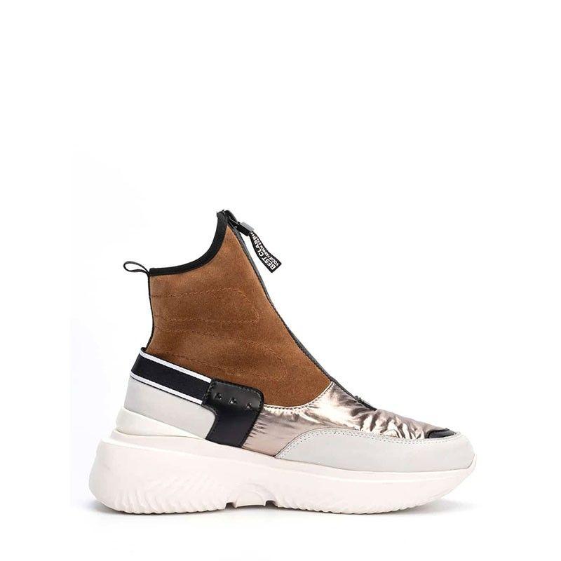 Γυναικεία Sneakers Τύπου Μποτάκια με Φερμουάρ Favela -Pyro Su Brown