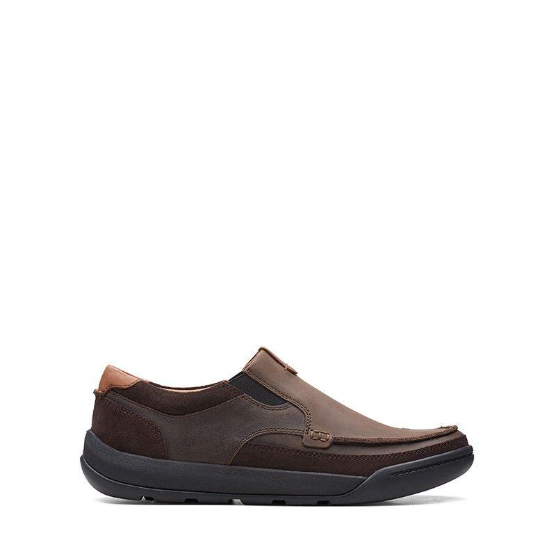 Ανδρικά Μοκασίνια Clarks Ashcombe Slip Dark Brown Leather