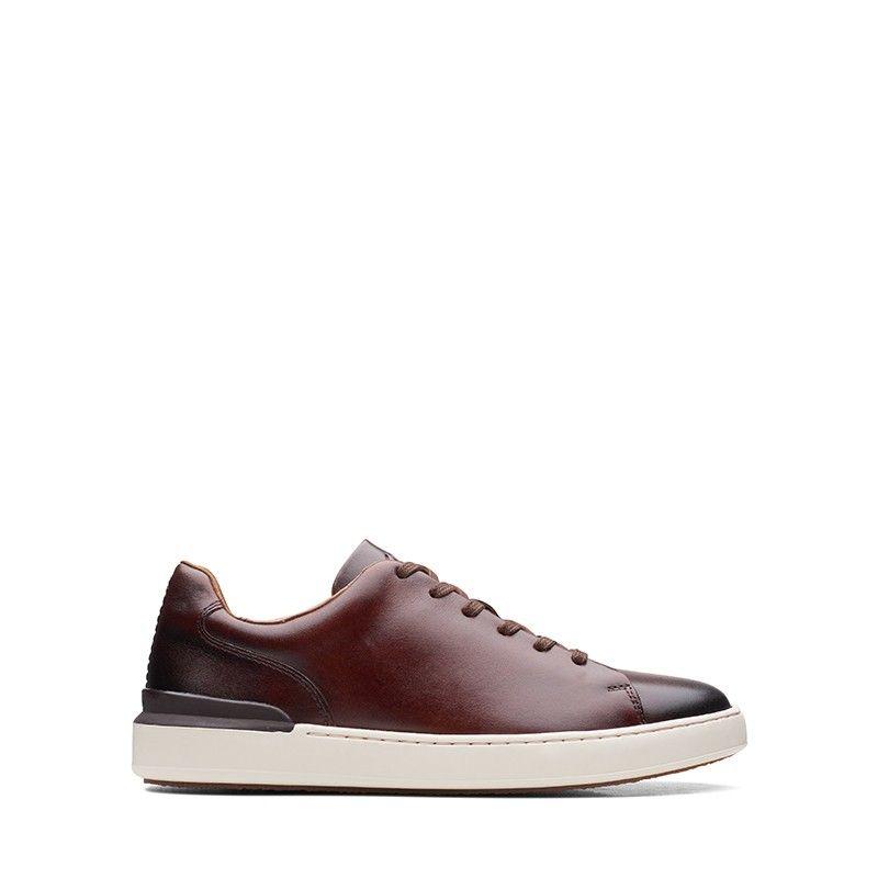 Ανδρικά Casual Παπούτσια Clarks CourtLite Lace Dark Tan Leather