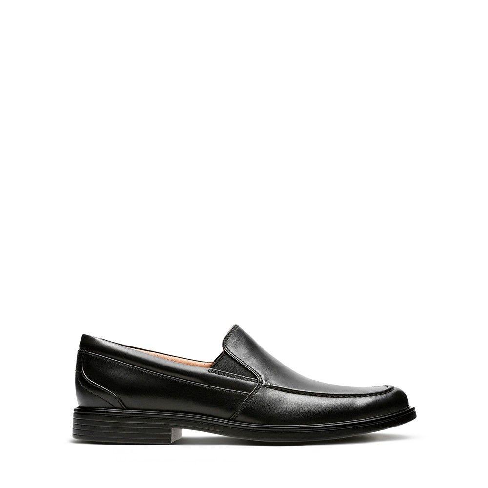 Ανδρικά Slip-on Clarks Un Aldric Slip Black Leather